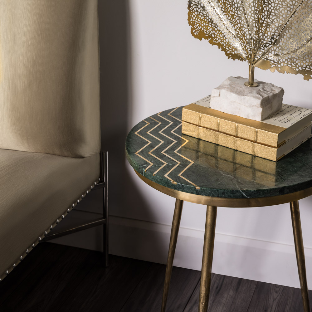 Belvin End Tables: Green Marble