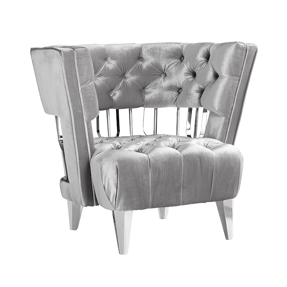 Bentley Accent Chair: E. Grey Velvet