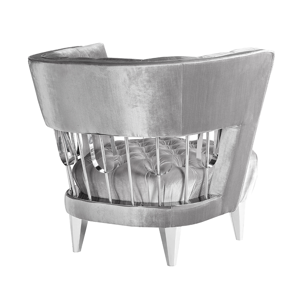 Bentley Accent Chair: E. Grey Velvet