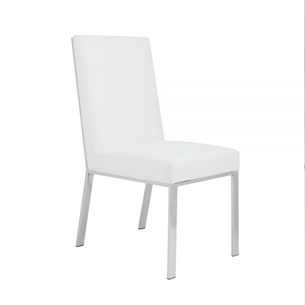 Emiliano Dining Chair: White Leatherette