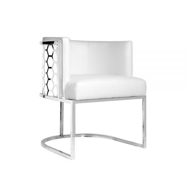 Chamberlain Chair: White Leatherette