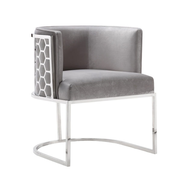 Chamberlain Chair: Grey Velvet