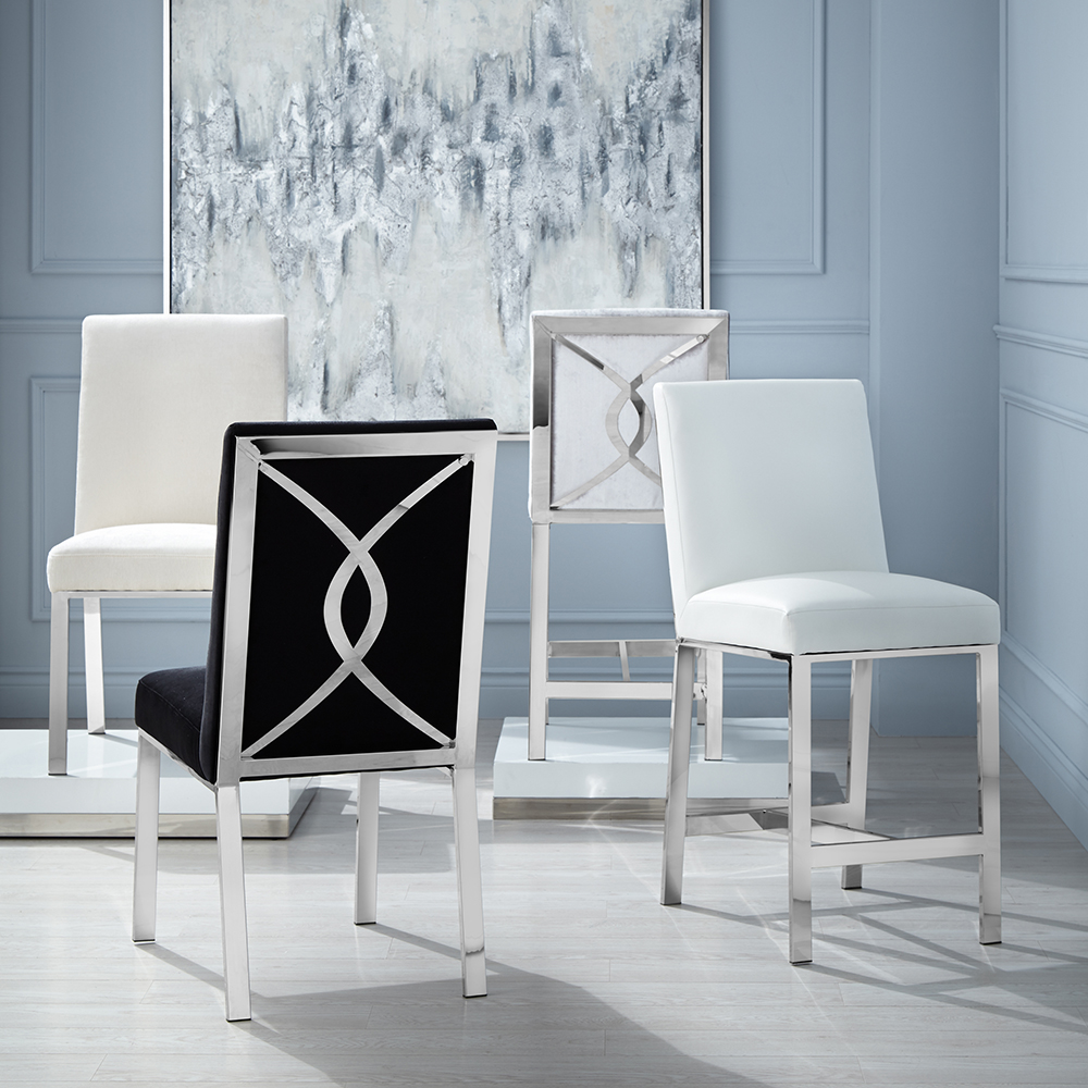 Emiliano Counter Chair: White Leatherette
