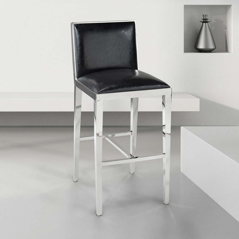 Emario Black Leatherette Bar Chair