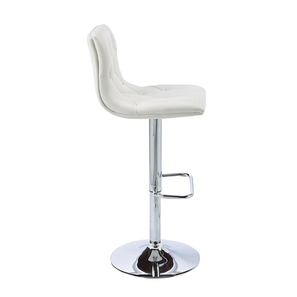 Crystal White Leatherette Adjustable Stool