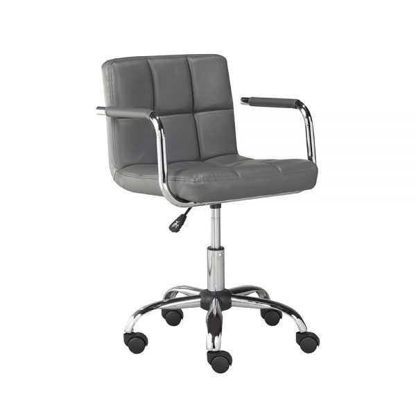Selena Office Chair: Grey Leatherette