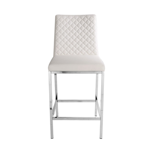 Canton White Leatherette Counter Chair