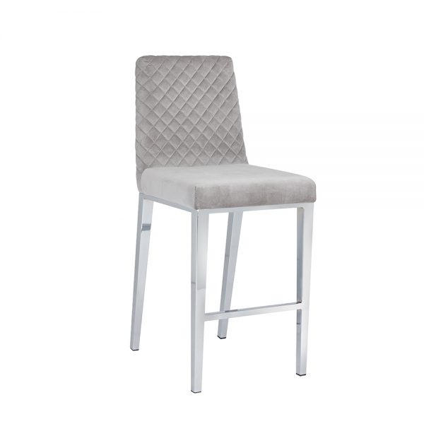 Alisa Grey Velvet Counter Chair
