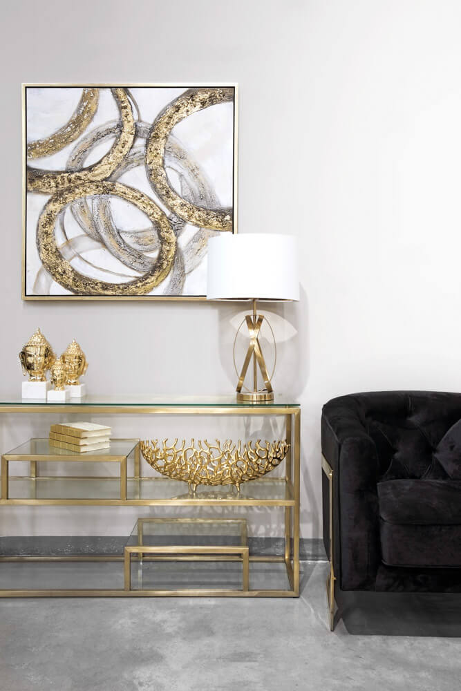 Barolo Gold Console Table