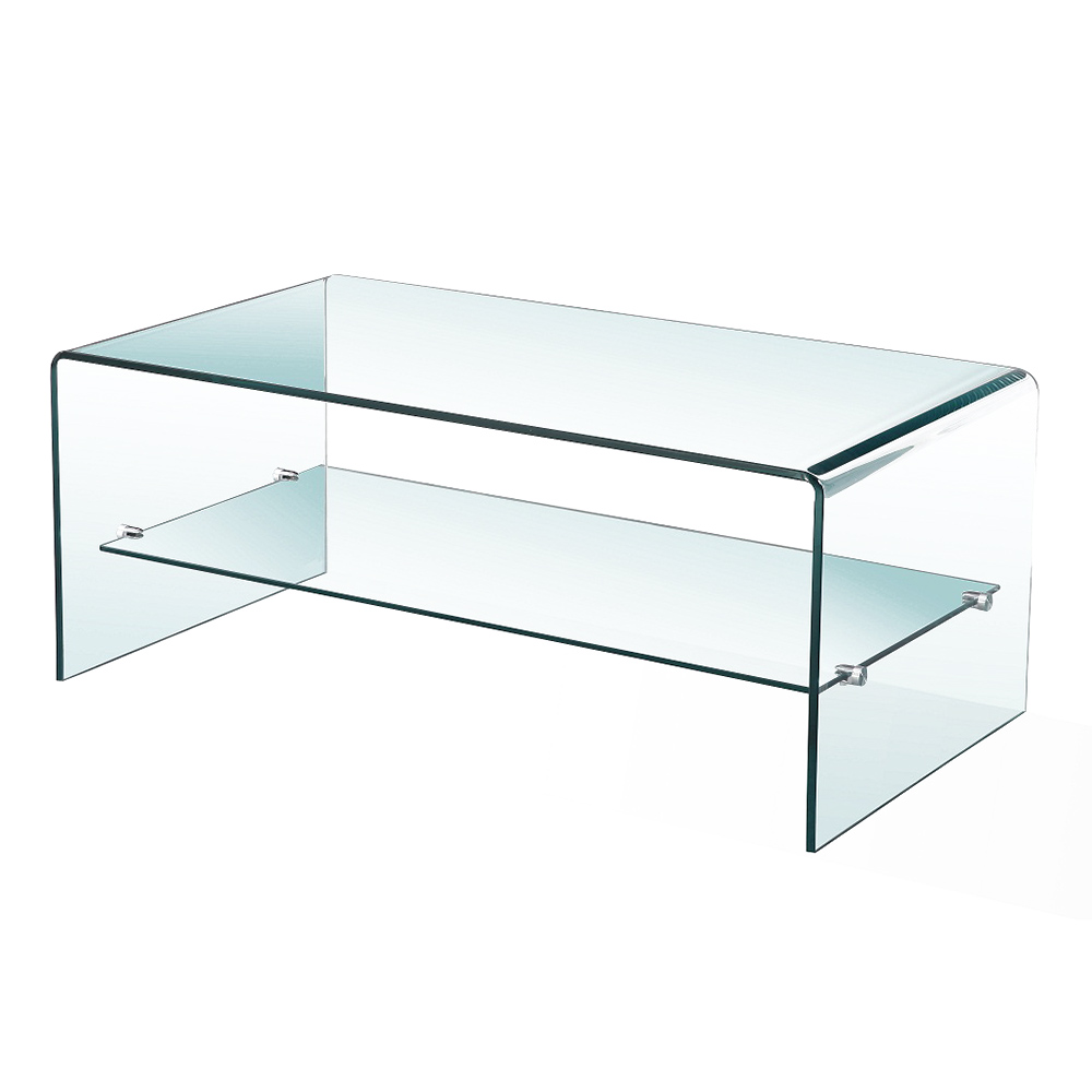 Bent Glass Coffee Table With Shelf