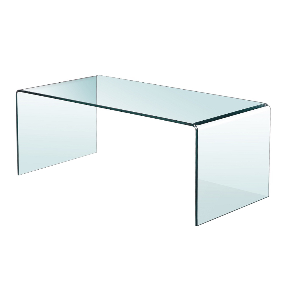 Bent Glass Coffee Table Without Shelf
