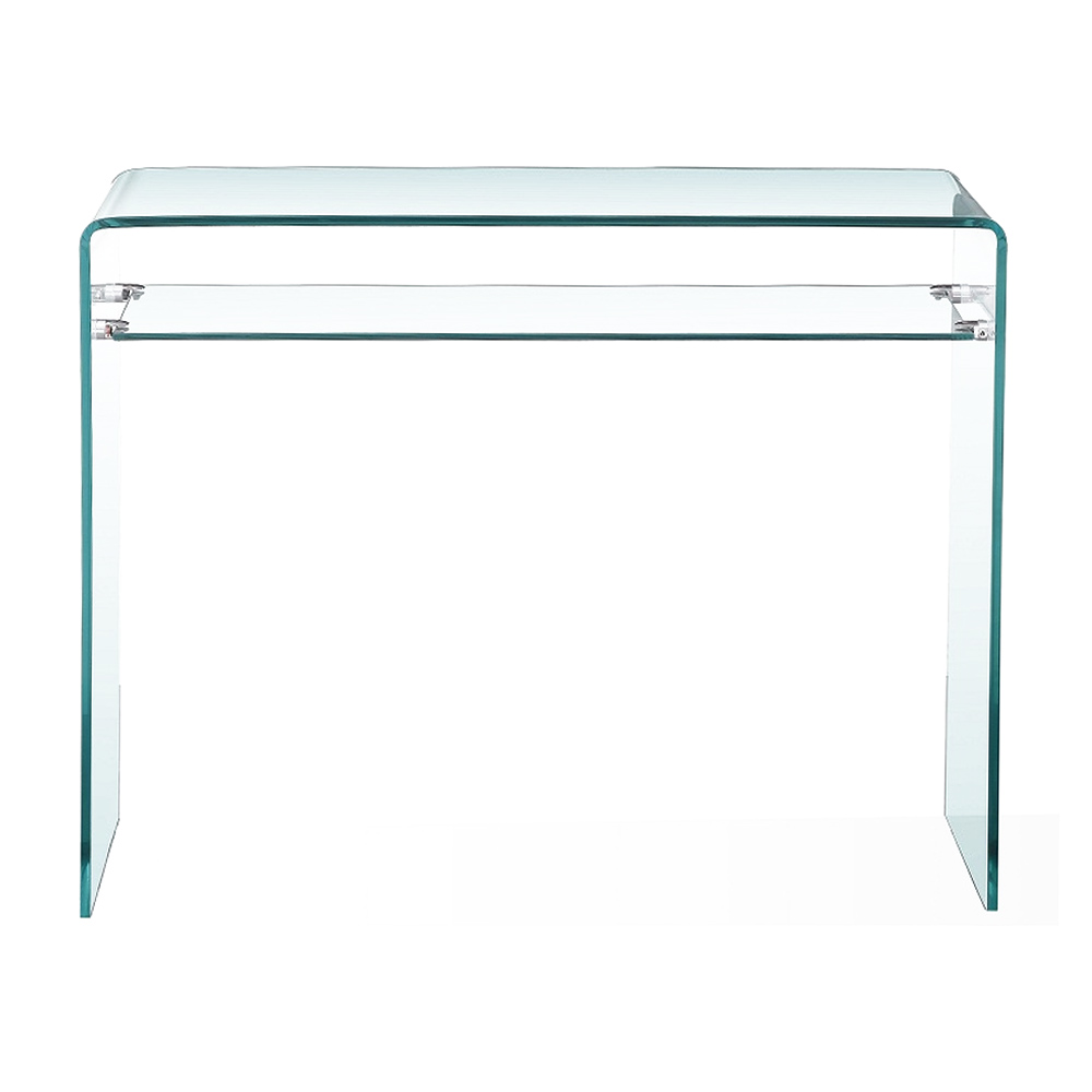 Bent Glass Console Table With Shelf