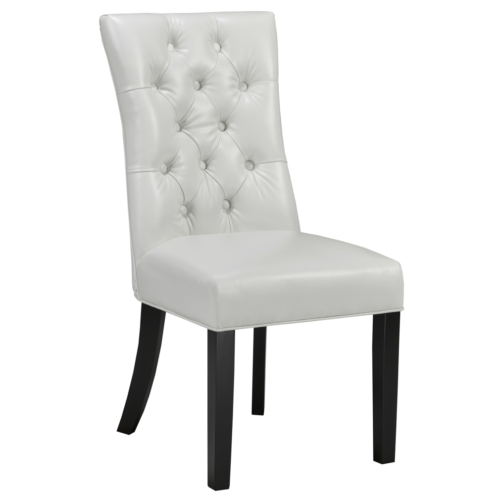 Becky White Leatherette Dining Chair