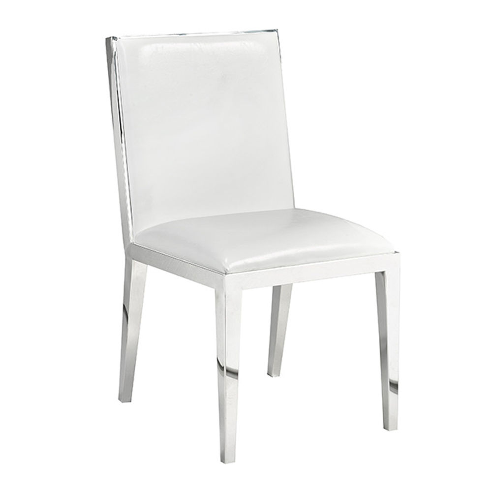 Emario White Leatherette Dining Chair