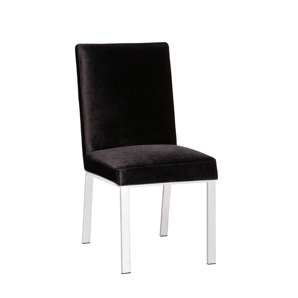 Emiliano Dining Chair: Black Velvet Color