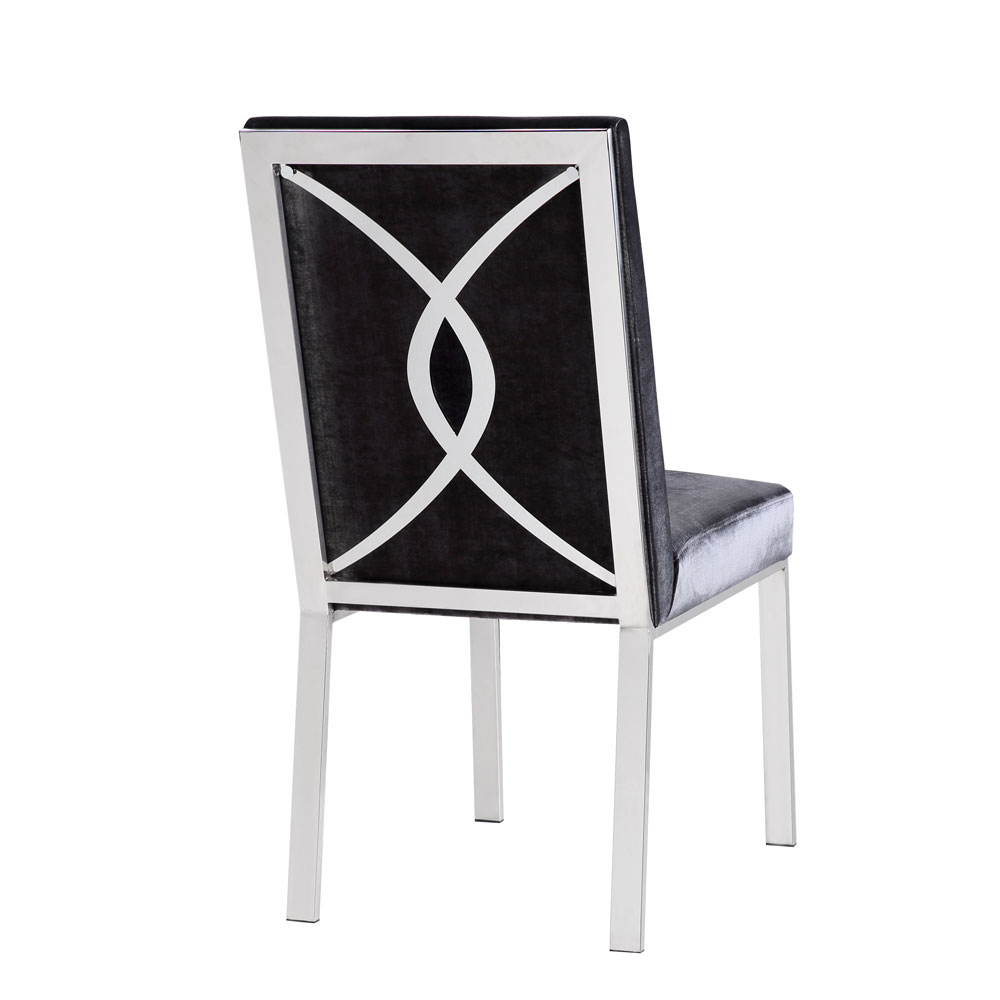 Emiliano Dining Chair: Charcoal Velvet Color