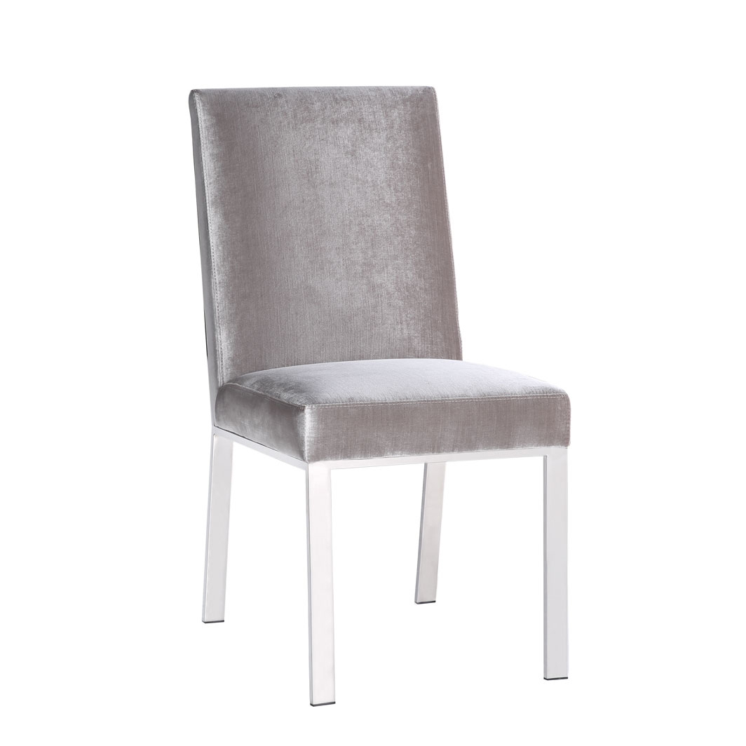 Emiliano Dining Chair: Grey Velvet Color
