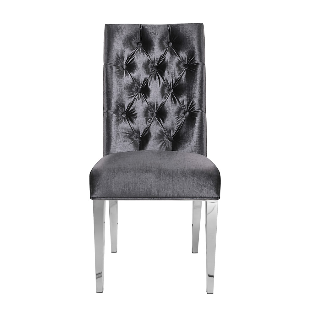 Leslie Charcoal Velvet Steel Dining Chair