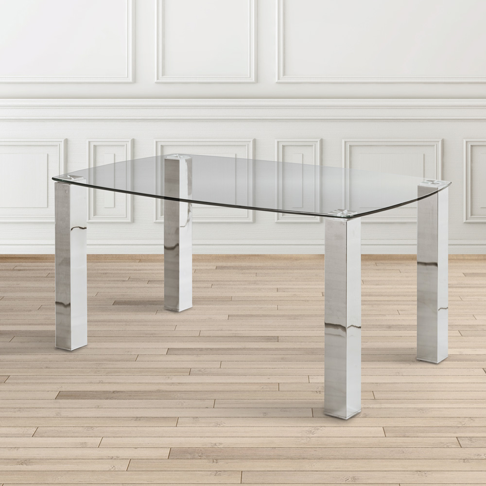 James Dining Table: Brushed Steel Legs