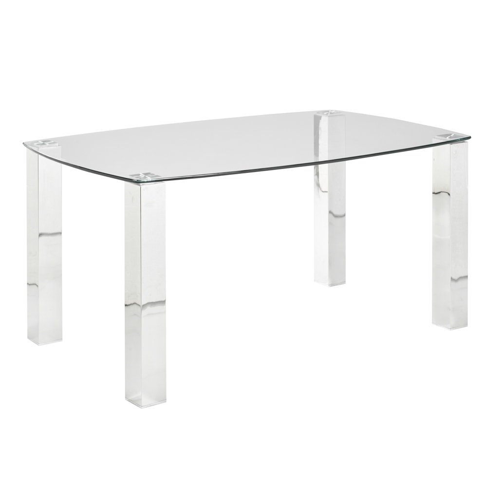 James Dining Table: Polished Steel Legs