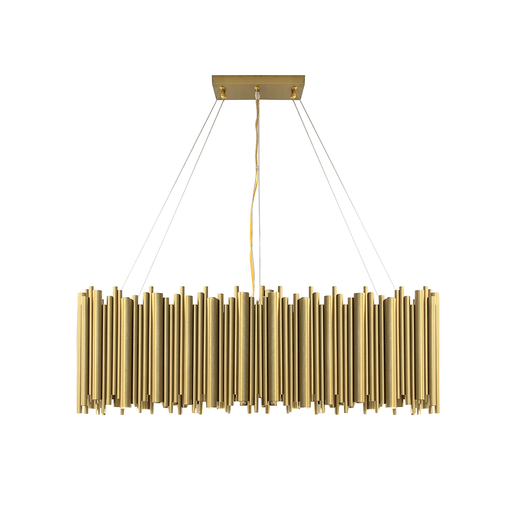 Roman Matte Gold Rectangular Chandelier