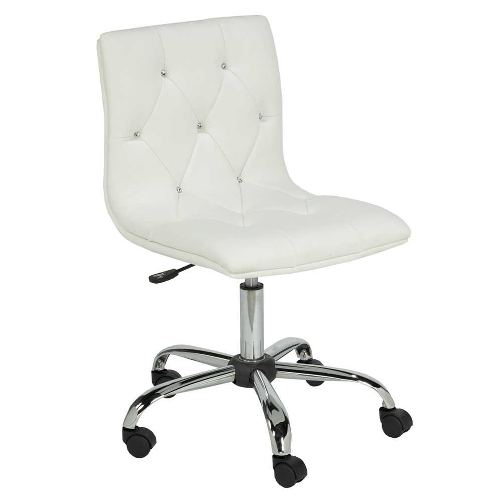 Crystal White Leatherette Office Chair
