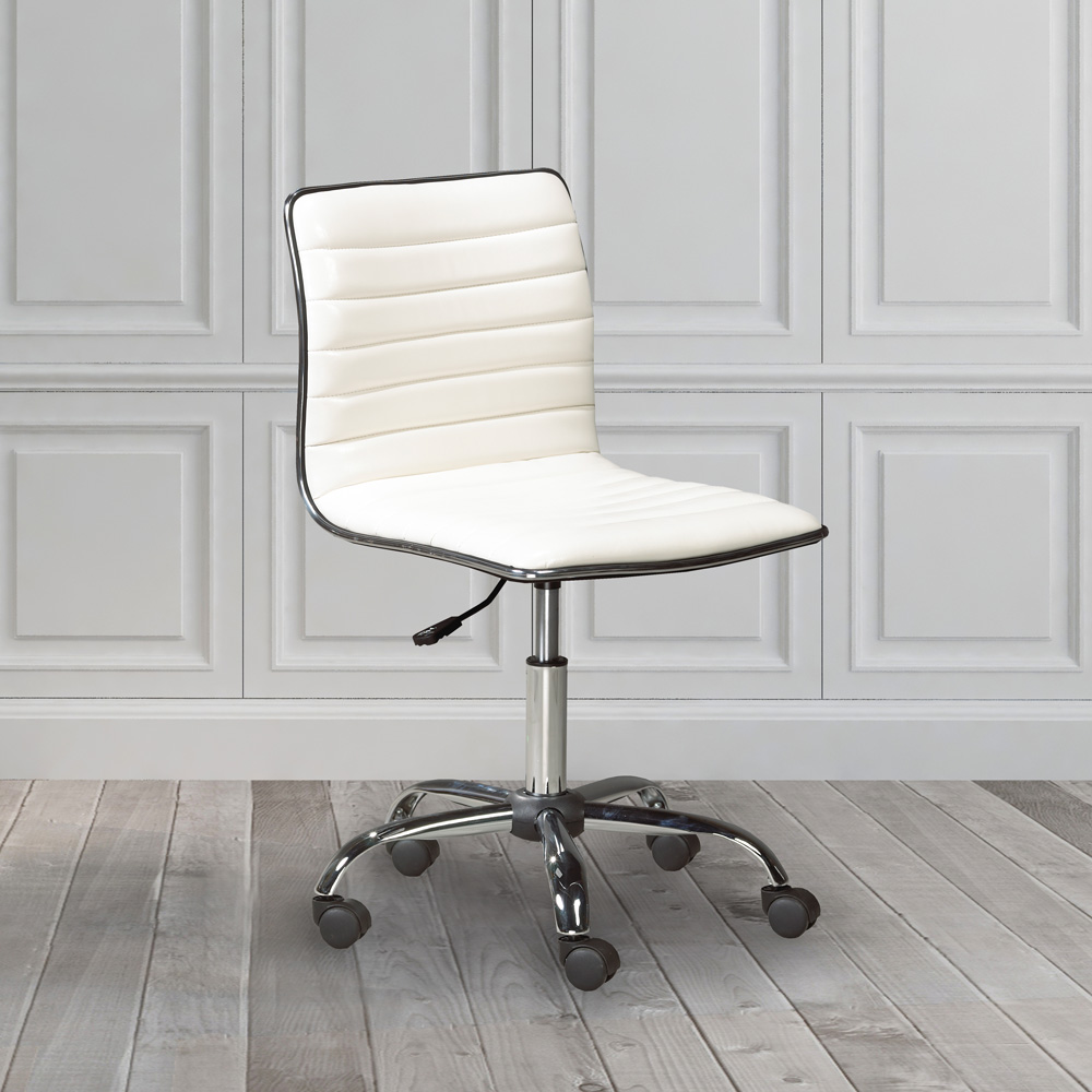 Hugo White Leatherette Office Chair