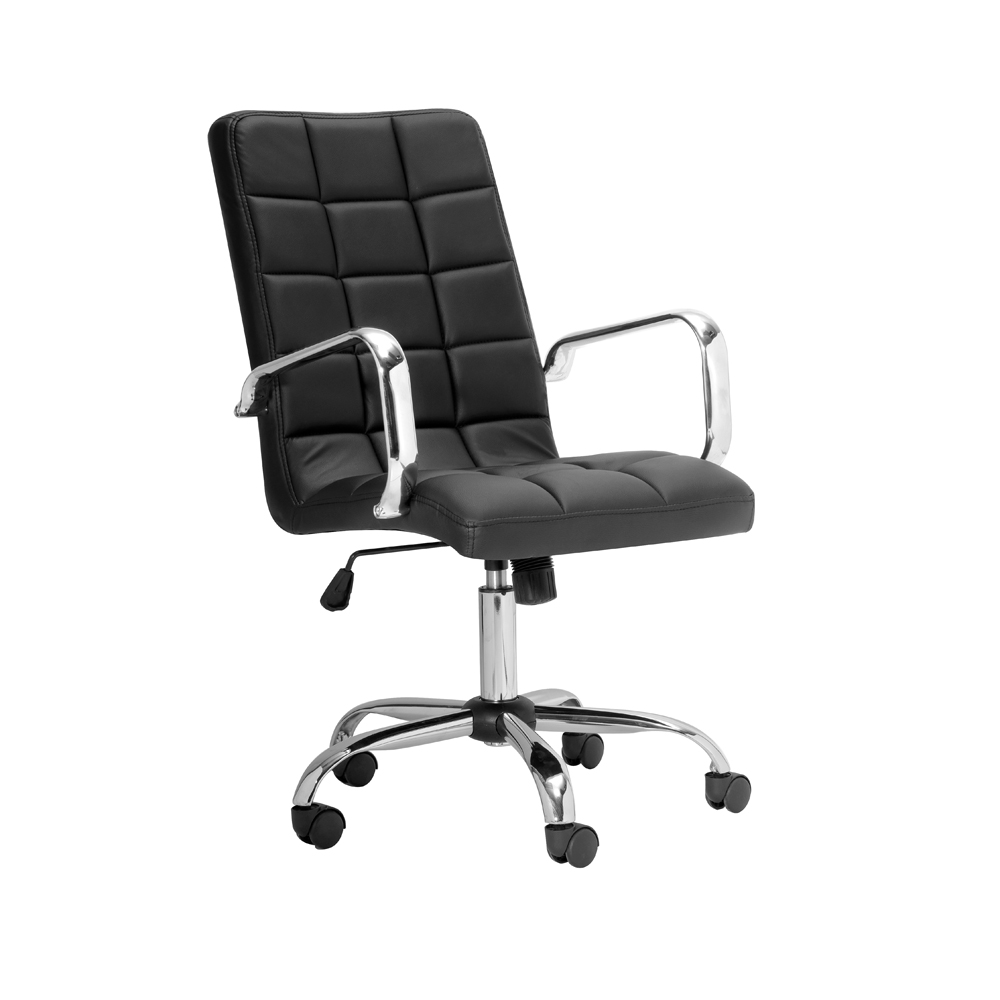 Selena High Back Black Leatherette Office Chair With Arm