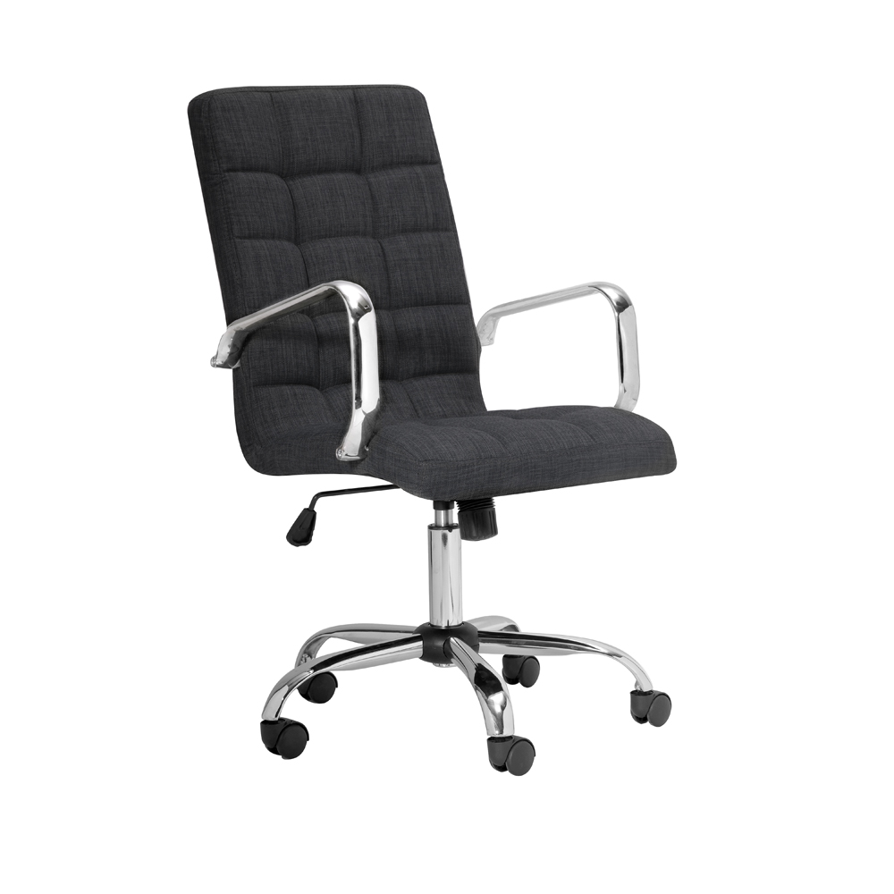 Selena High Back Grey Linen Office Chair With Arm