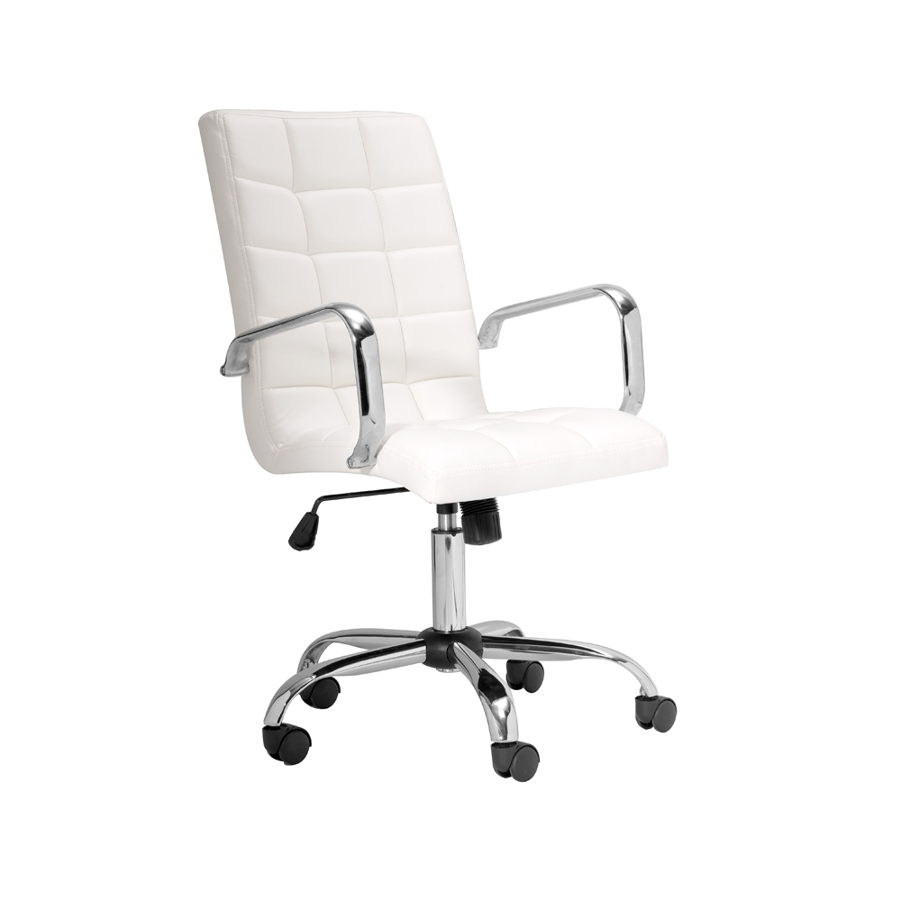 Selena High Back White Leatherette Office Chair With Arm