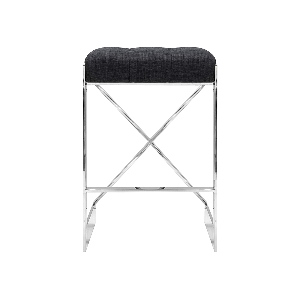 Criss Cross Grey Linen Counter Stool