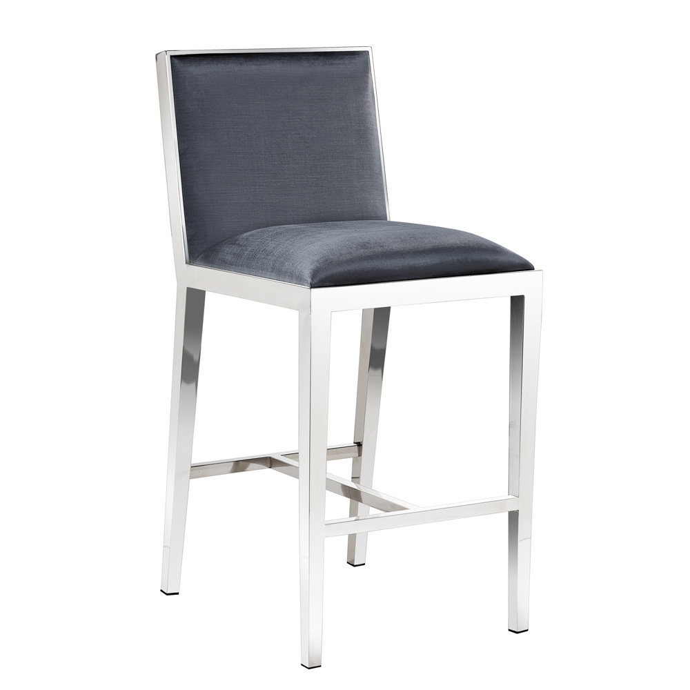 Emario Charcoal Velvet Counter Chair