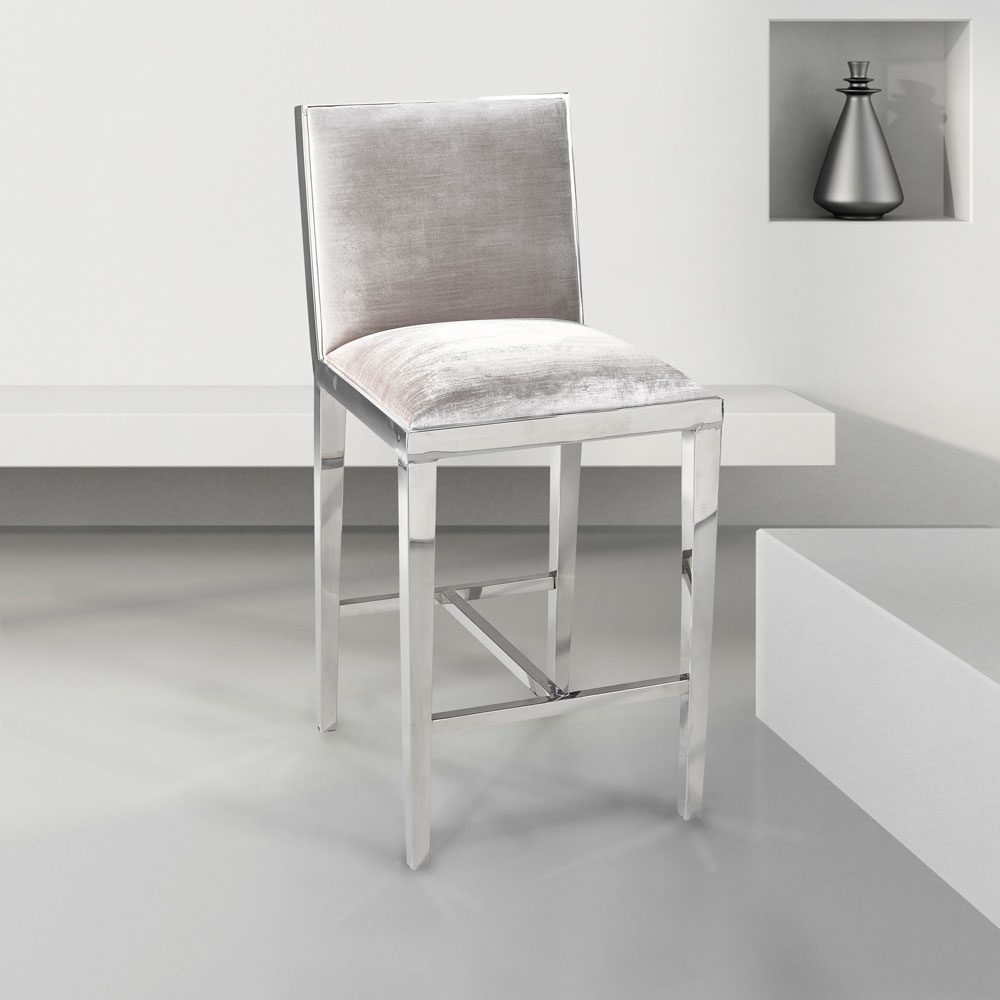 Emario Grey Velvet Counter Chair