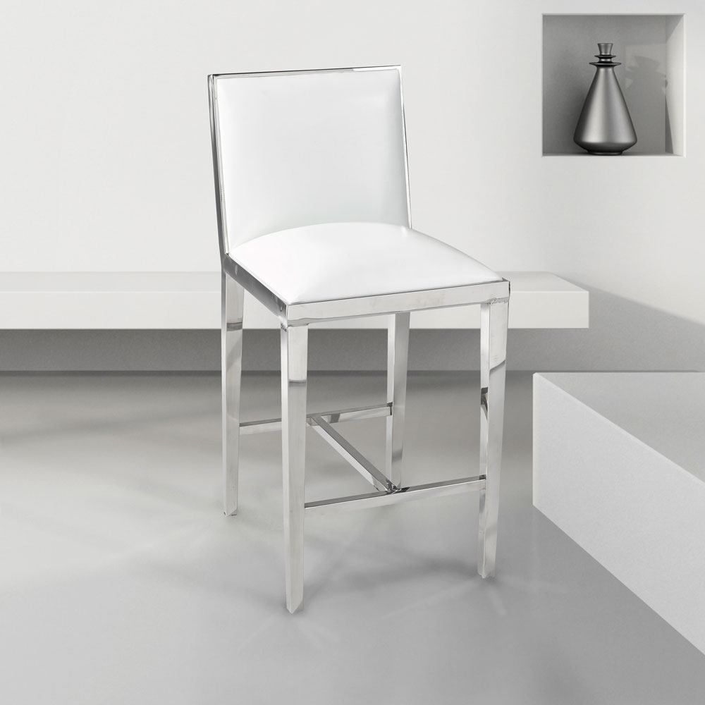 Emario White Leatherette Counter Chair