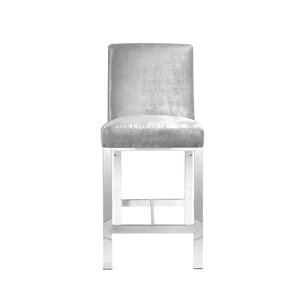 Emiliano Counter Chair: E. Grey Velvet