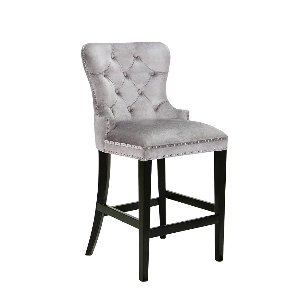 Euphoria Grey Velvet Counter Stool