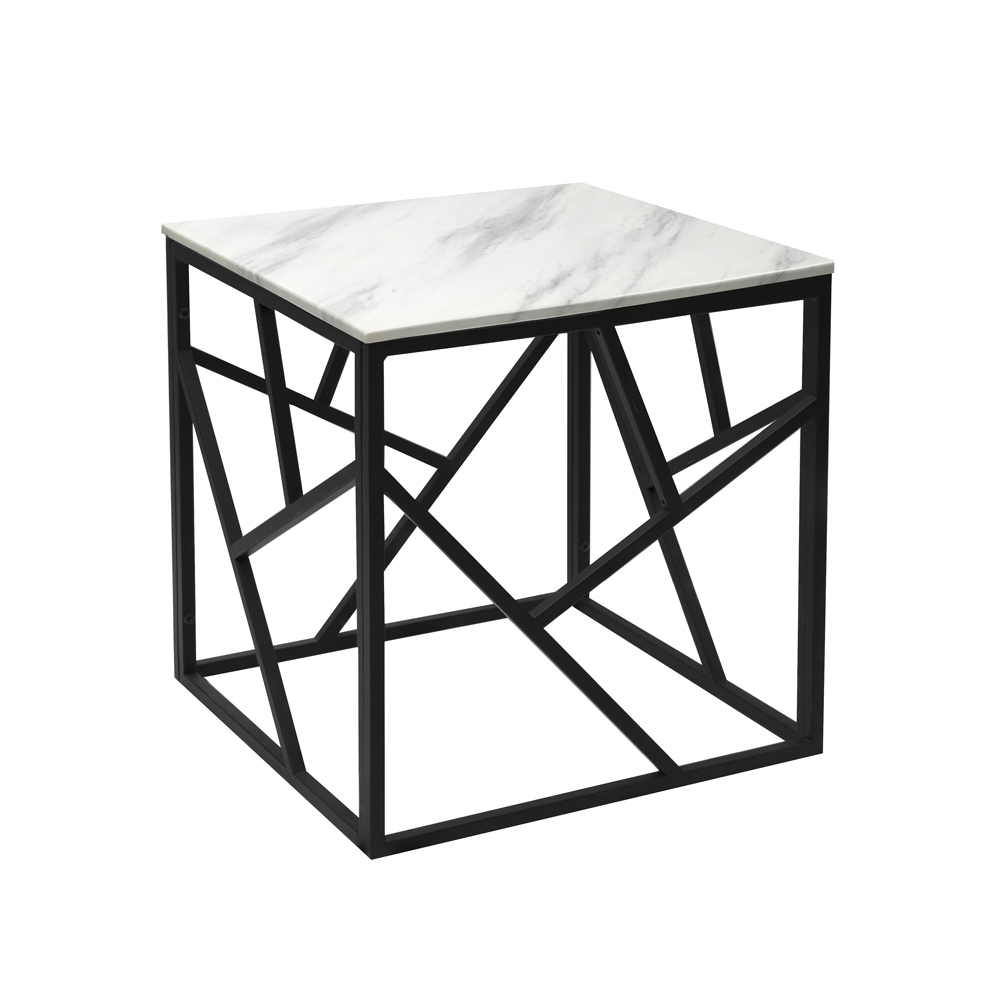 Carole Marble End Table – Black Frame