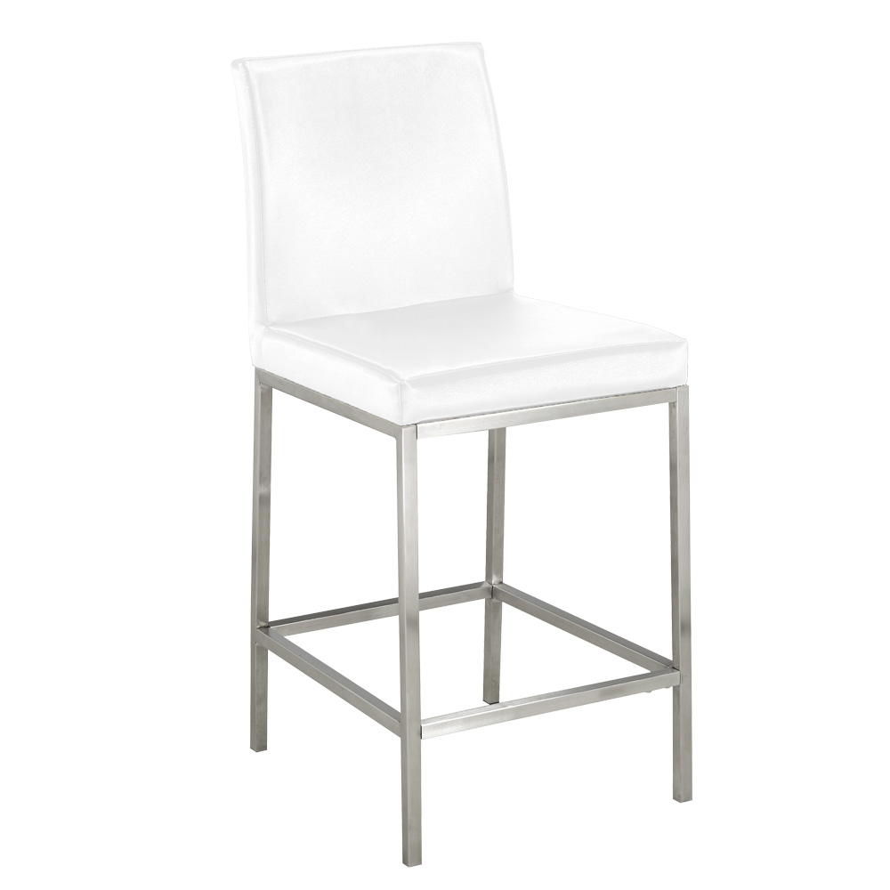 Havana White Leatherette Counter Chair