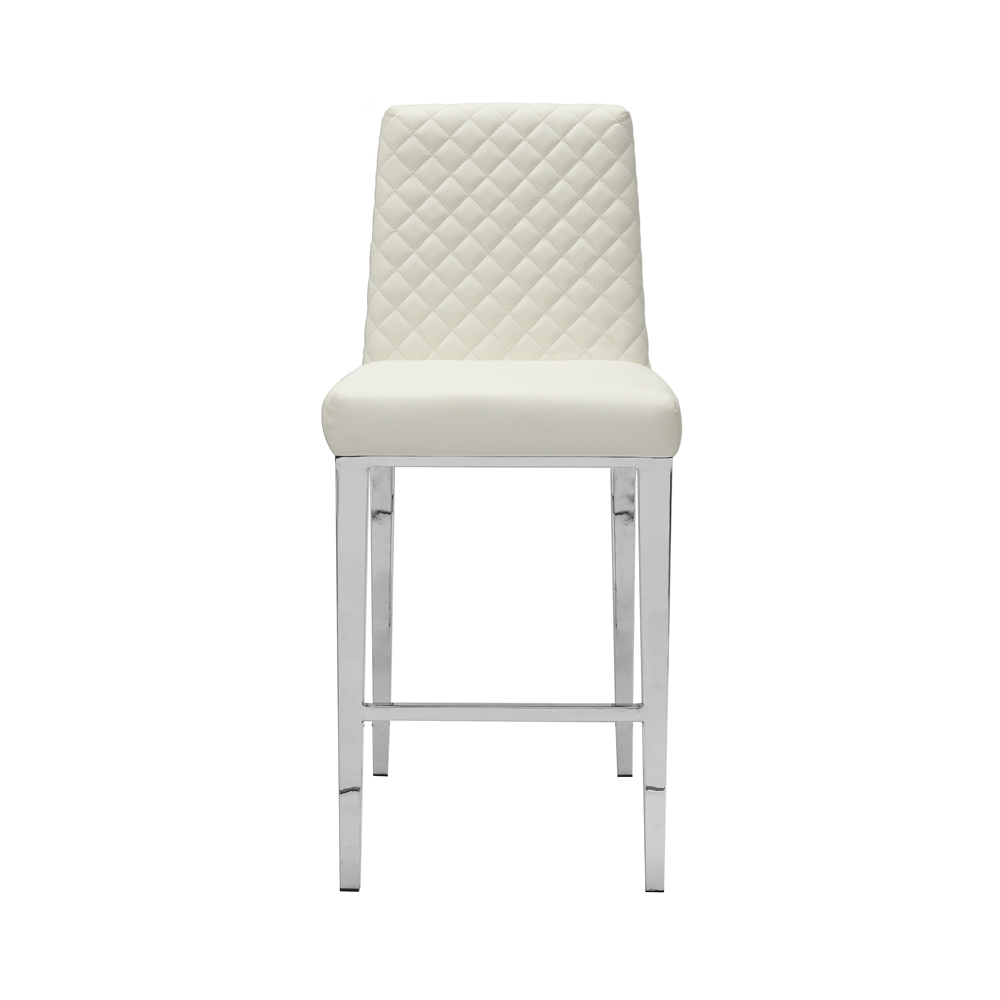 Alisa White Leatherette Counter Chair