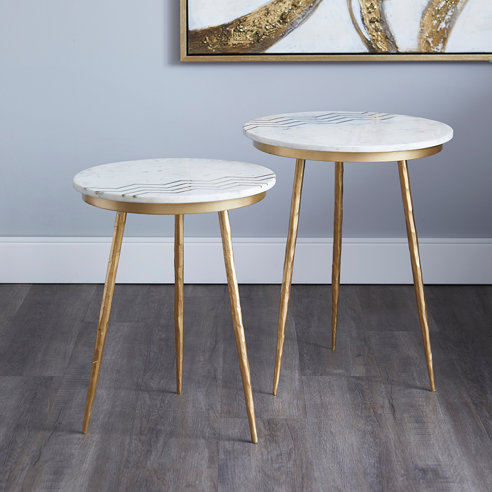 Belvin End Tables: White Marble