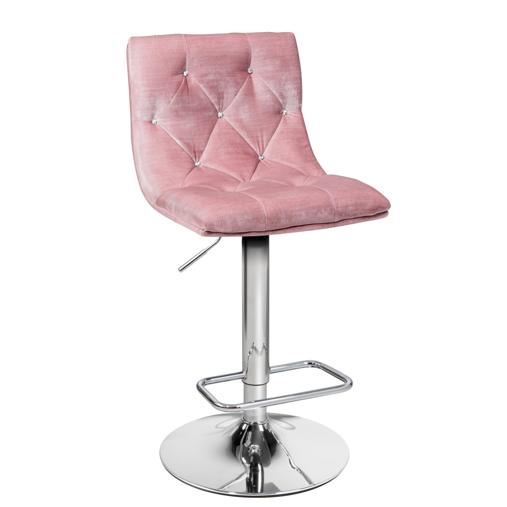 Crystal Pink Velvet Adjustable Stool