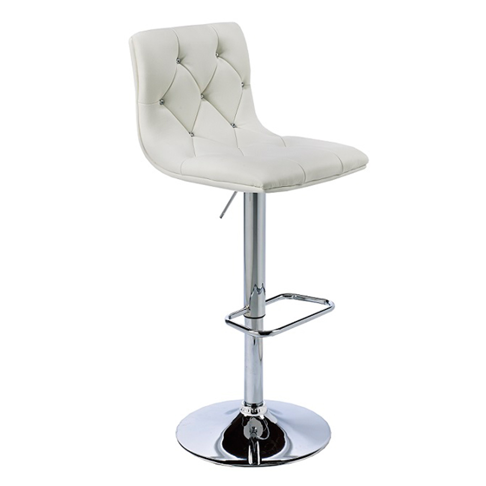 Crystal White Leatherette Adjustable Stool