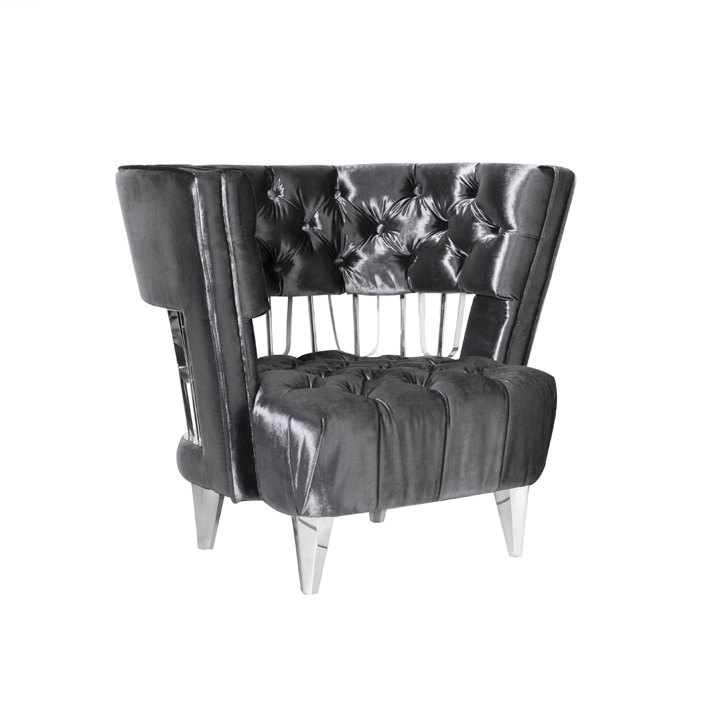 Bentley Accent Chair: E. Charcoal Velvet