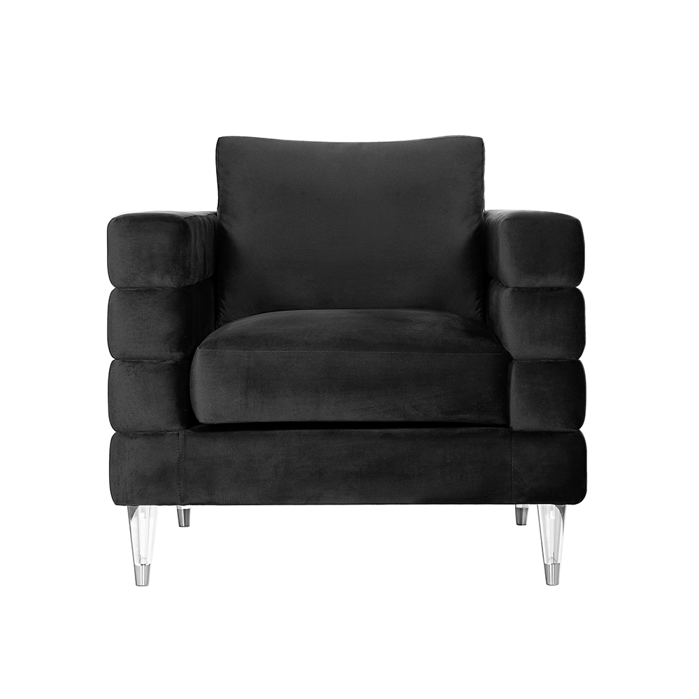 Channel Black Velvet Chair