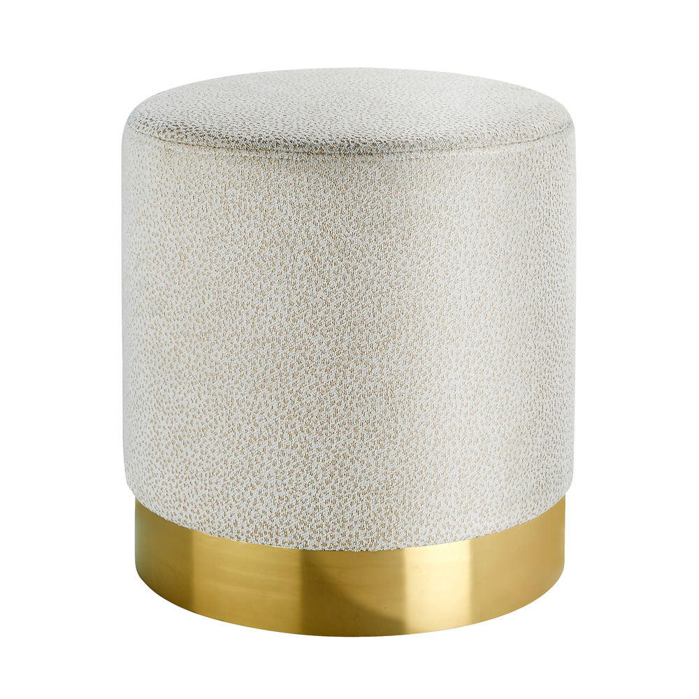 Aria Snow Fabric Gold Ottoman