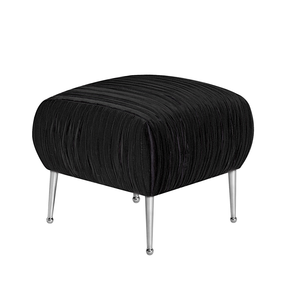 Catalina Black Fabric Ottoman