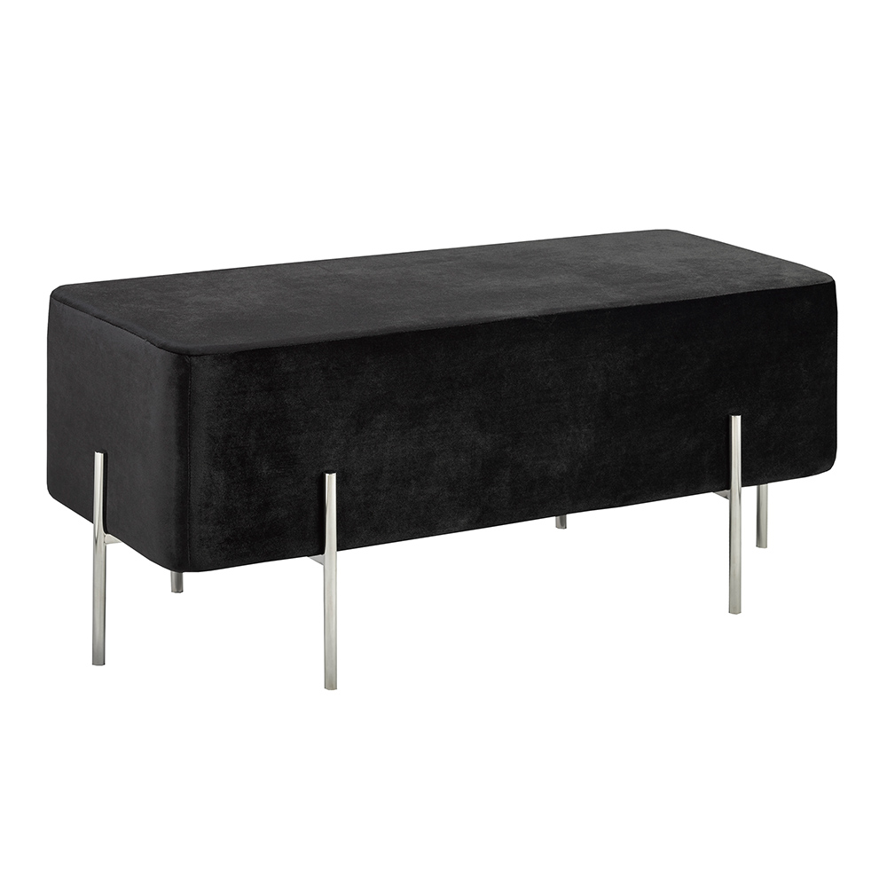 Kube Black Velvet Ottoman Steel Bench