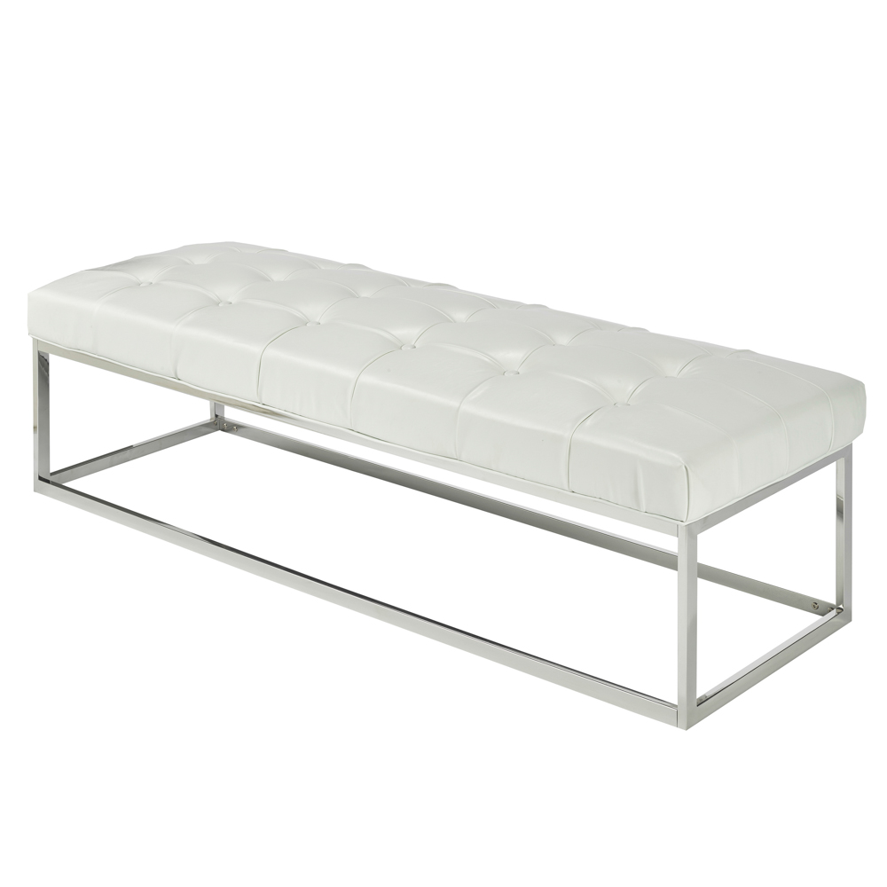 Modern White Leatherette Bench