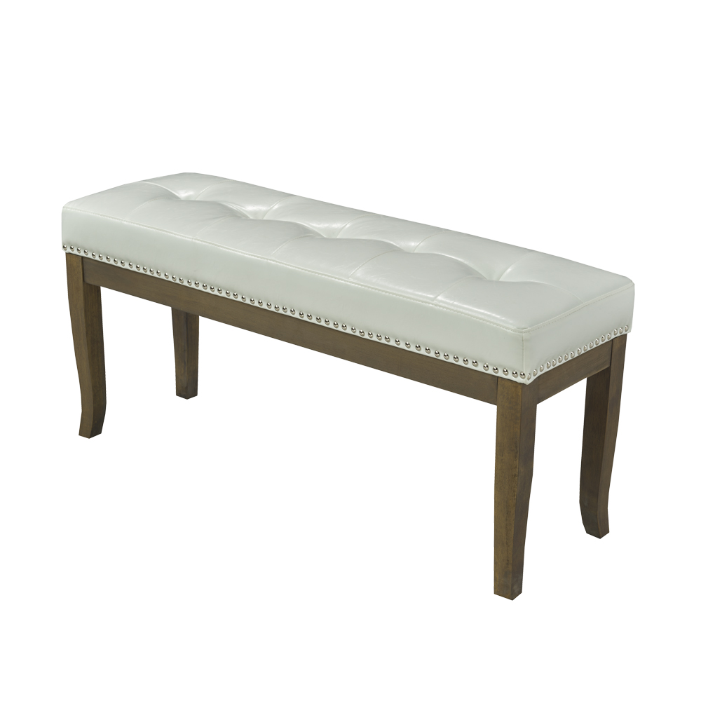 Florence White Leatherette Bench