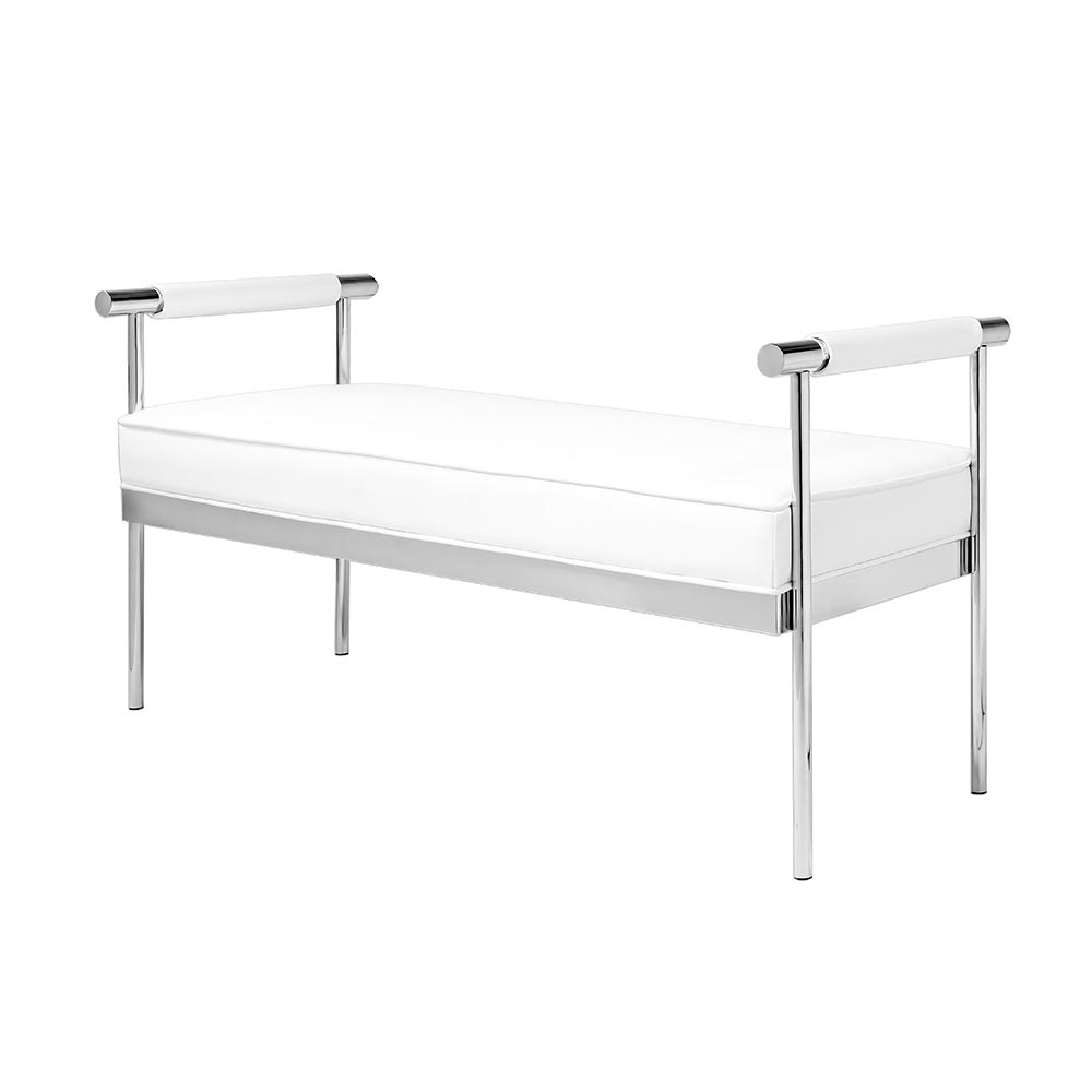 Helen White Leatherette Bench